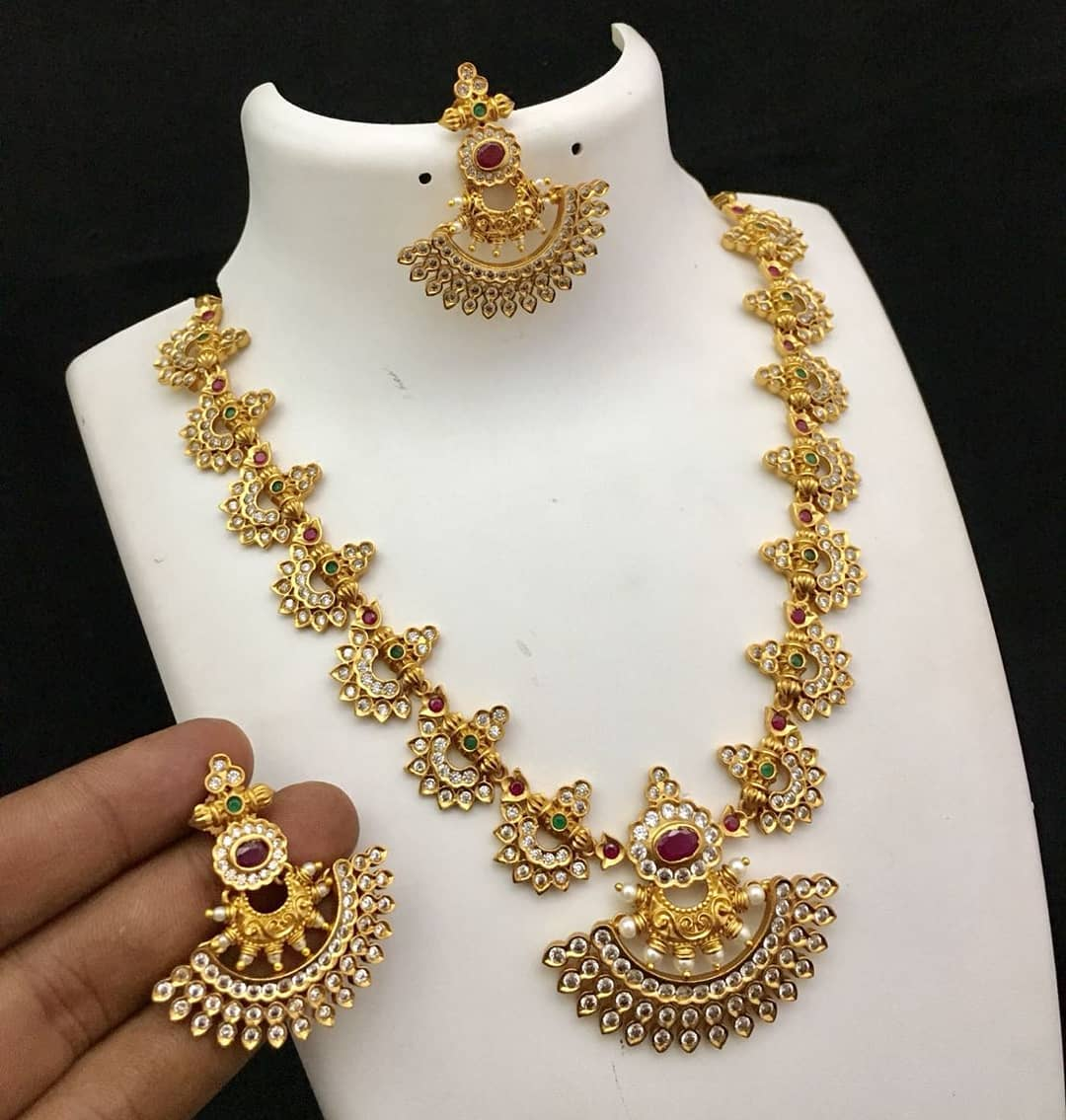 Pretty Stone Long Necklace From Kruthika Jewellery