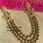 Stylish Silver Emerald Layered Necklace From Sree Exotic Silver Jewelleries