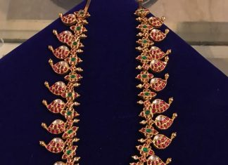Traditional Ruby Mango Necklace From Shanthilal Jain Jewellers