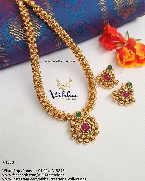 Adorable Gold Plated Necklace From Vibha Creations