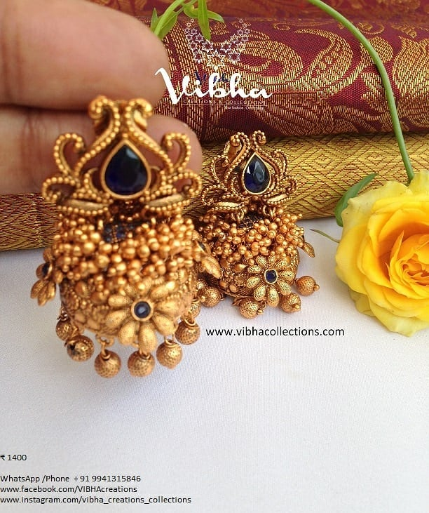 Beautiful Matt Finish Jhumka From Vibha Creations