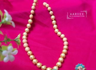 Pearl Neckset with Aqua colour Aarvee Chennai