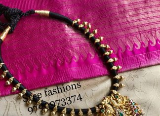 Precious Black Threaded Necklace From Sree Exotic Silver Jewelleries