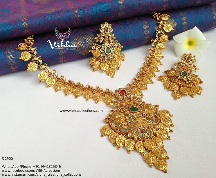 Stunning Lakshmi Coin Matt Naklace From Vibha Creations