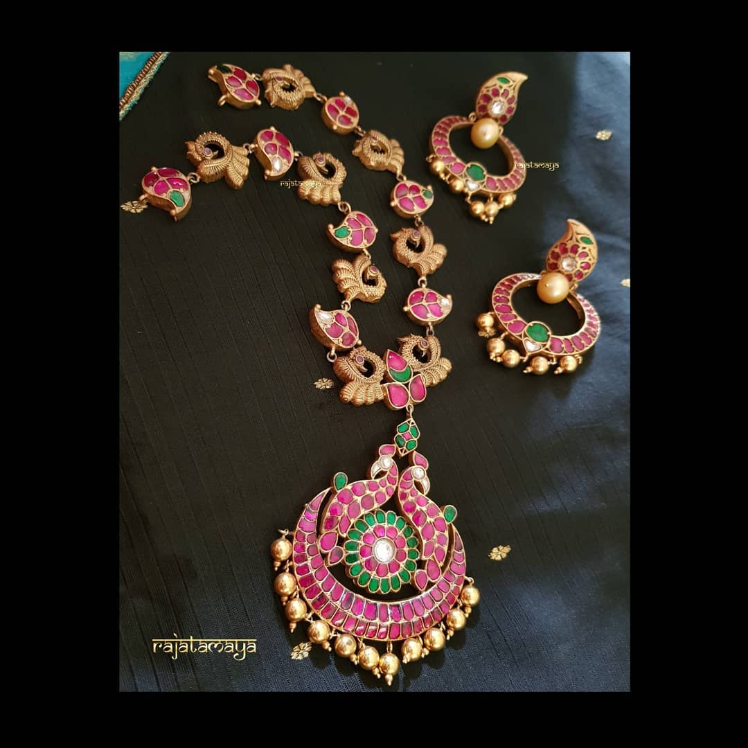 Beautiful Long Necklace From Rajatamaya