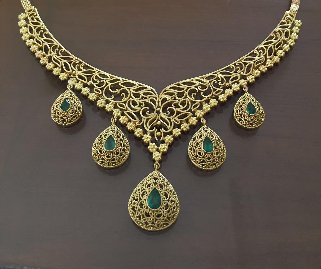 Gorgeous Gold Necklace From Gehna India