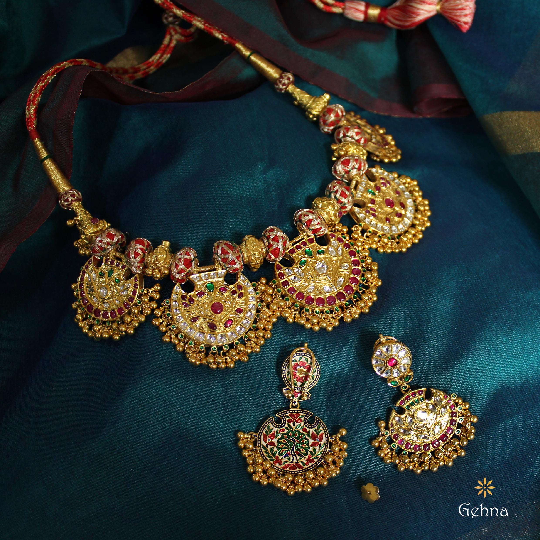 Gorgeous Gold Pankhi Necklace Set From Gehna India