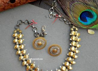 Leaf Necklace With Bahubali Studs From Precious And You