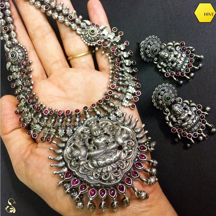 Silver-Lakshmi Temple Necklace From Sparsak Jewels