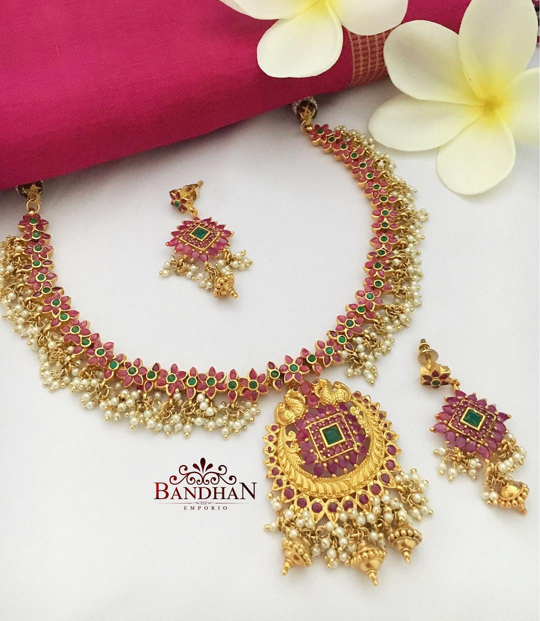 Traditional Ruby Emerald Necklace From Bandhan