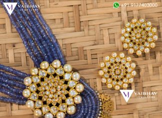 BSA Beads And Kundan Locket Set From Vibhav Jewellers