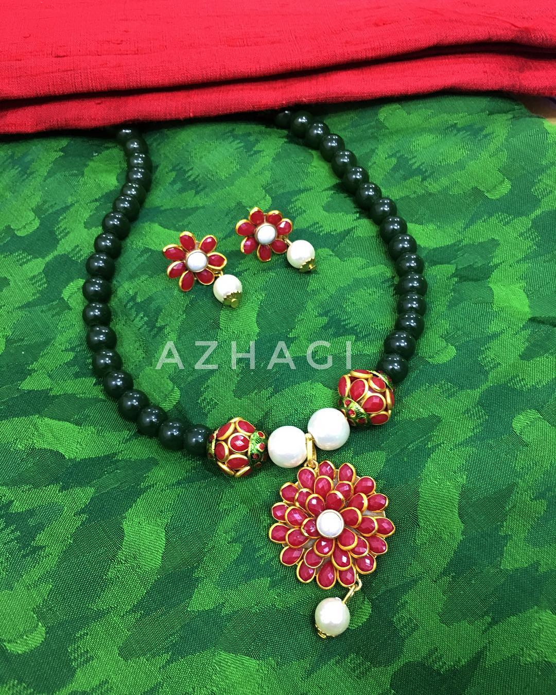 Beautiful Red Beads Necklace From Azhagi Beads