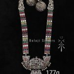 Ethnic Navarathna Silver Necklace From Balaji Necklace