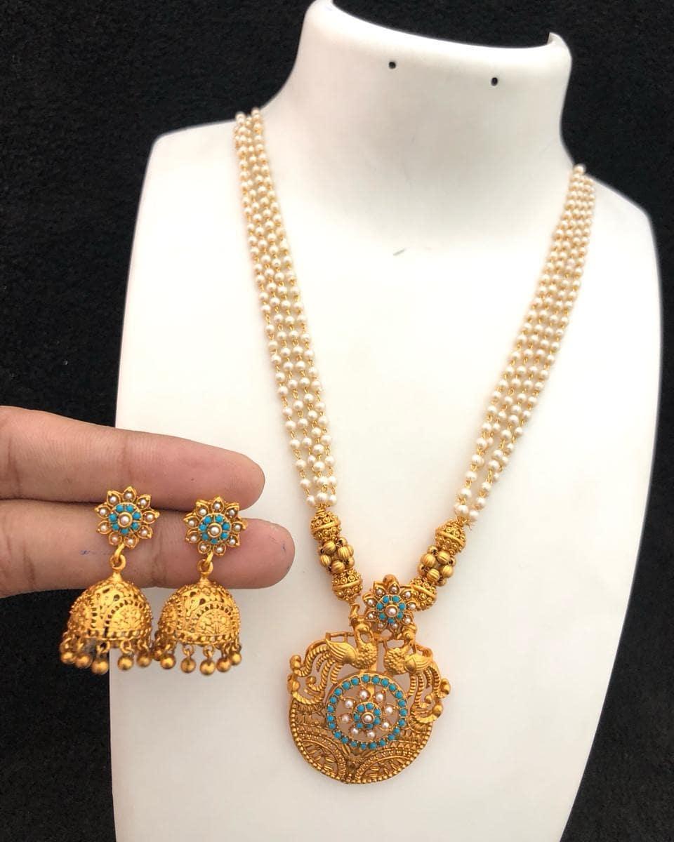 Eye Catching Pearl Necklace Set From Embelish Chennai