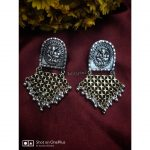 Handcrafted German Silver Dual Tone Earrings From Izhaiyini Jewellery