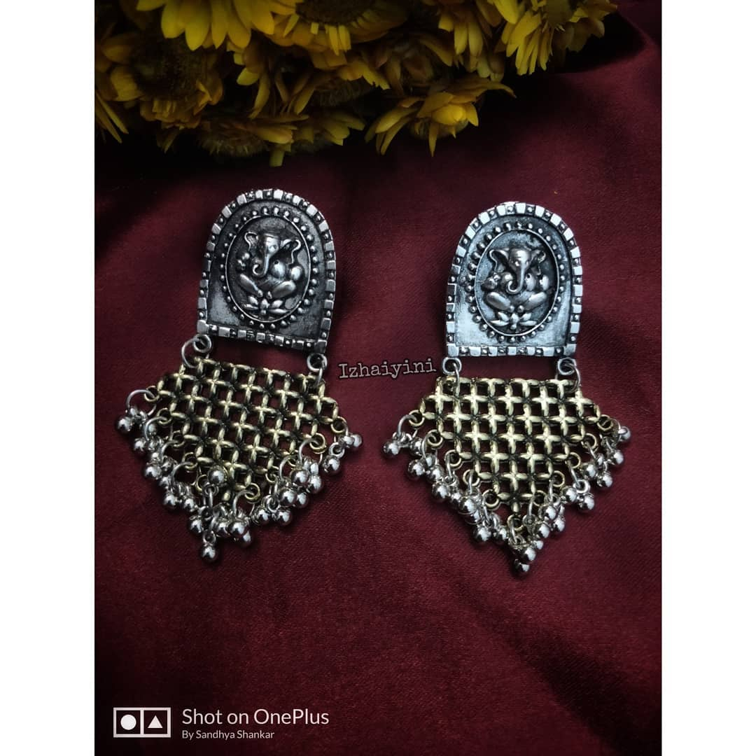 Handcrafted German silver dual Tone Earrings From-Izhaiyini-Jewellery