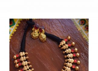 Handcrafted Lakshmi Gold Finish Necklace From-Quills-And -Spills