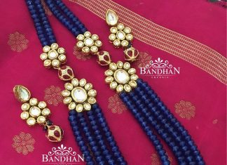 Layered necklace with kundan broach From Bandhan