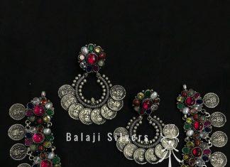 Oxidised Silver Navarathna Set From Balaji Silvers