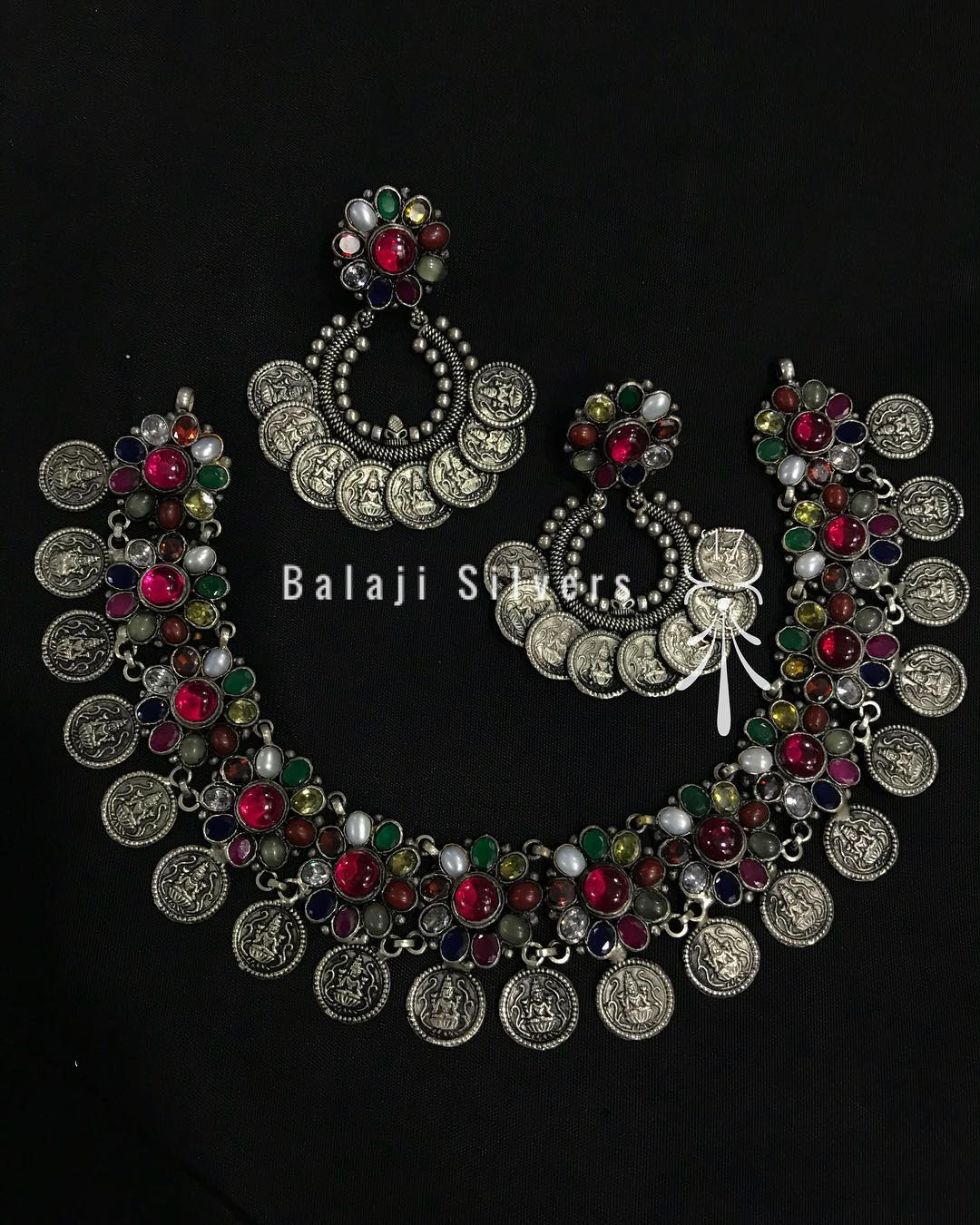 Oxidised Silver Navarathna Set From Balaji Silvers