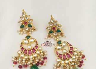 Royal Gold Plated Kundan Chandbali From Bandhan