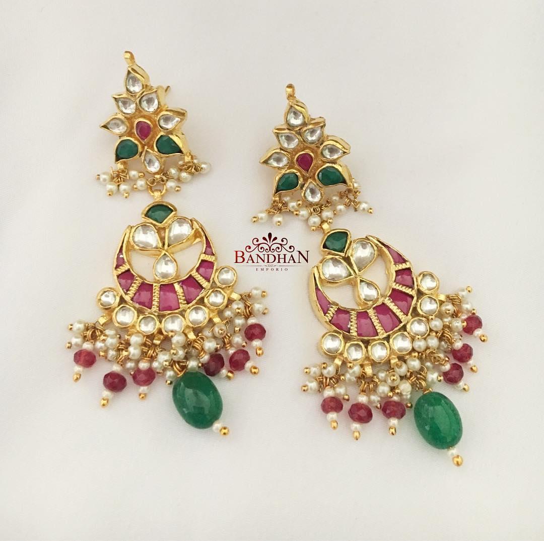 Royal Gold Plated Kundan Chandbali From Bandhan