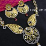 Stylish Silver Polki Necklace And Studs From Balaji Silvers