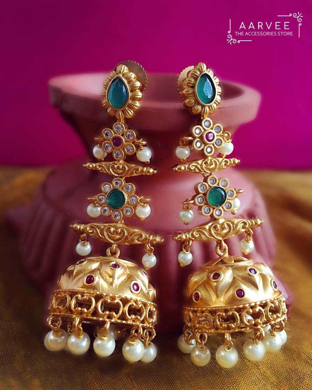 Antique Jhumka From Aarvee Chennai