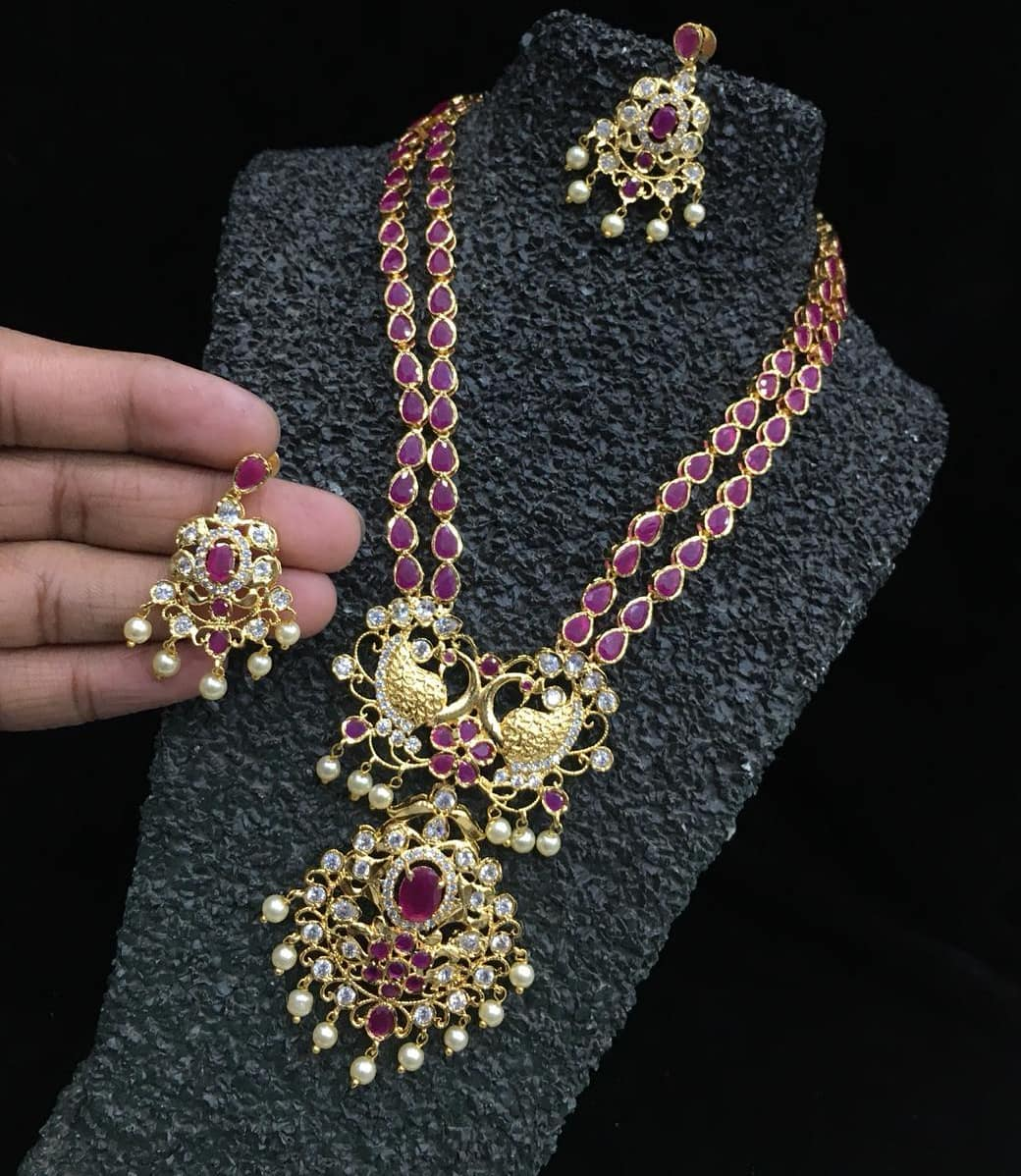 Antique Finish Ruby Stone Long Haaram From Accessory Villa