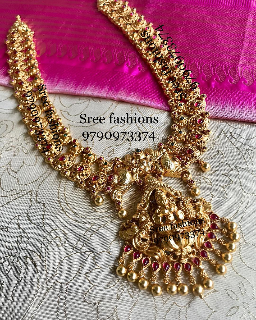 Attractive Gold Plated Silver Necklace From Sree Exotic Silver Jewelleries