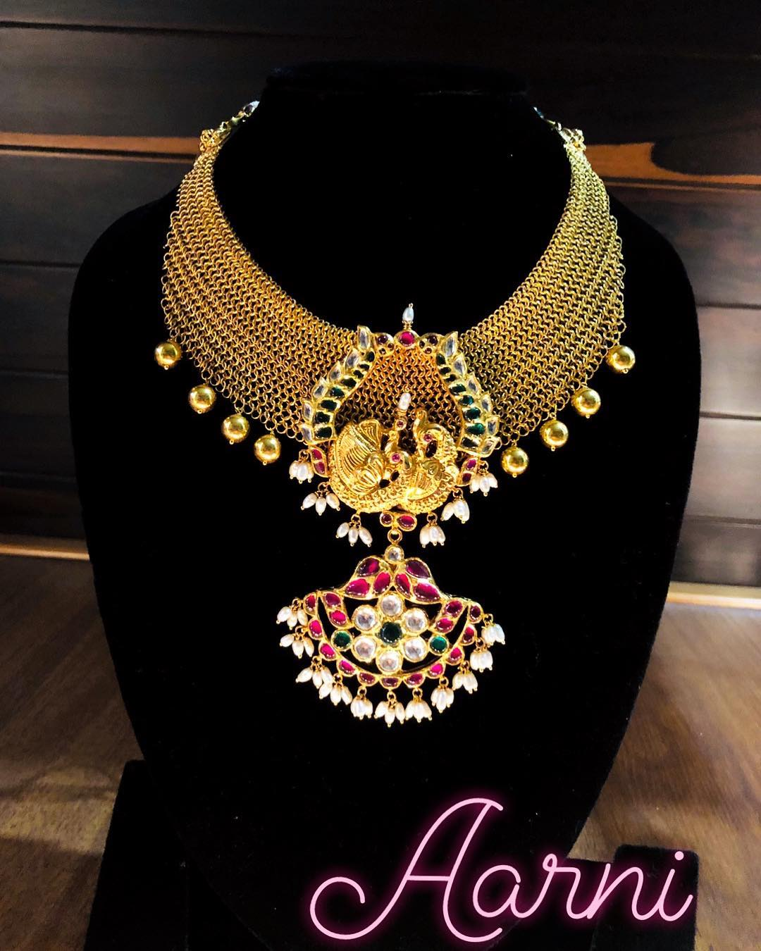 Decorative Gold Necklace From Aarni By Shravani