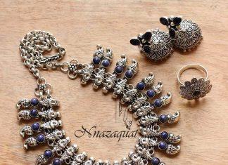 Oxidized Tribal Necklace Set From Nnazaquat Tribal Jewellery