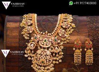 Pachi Work Guttapusala Haram Set From Vaibhav Jewellers