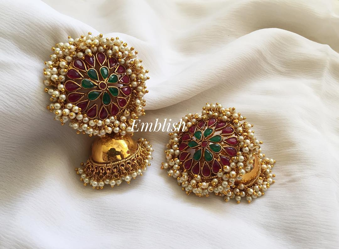 Big Pearl bunch stone antique jhumkas From Emblish Coimbatore
