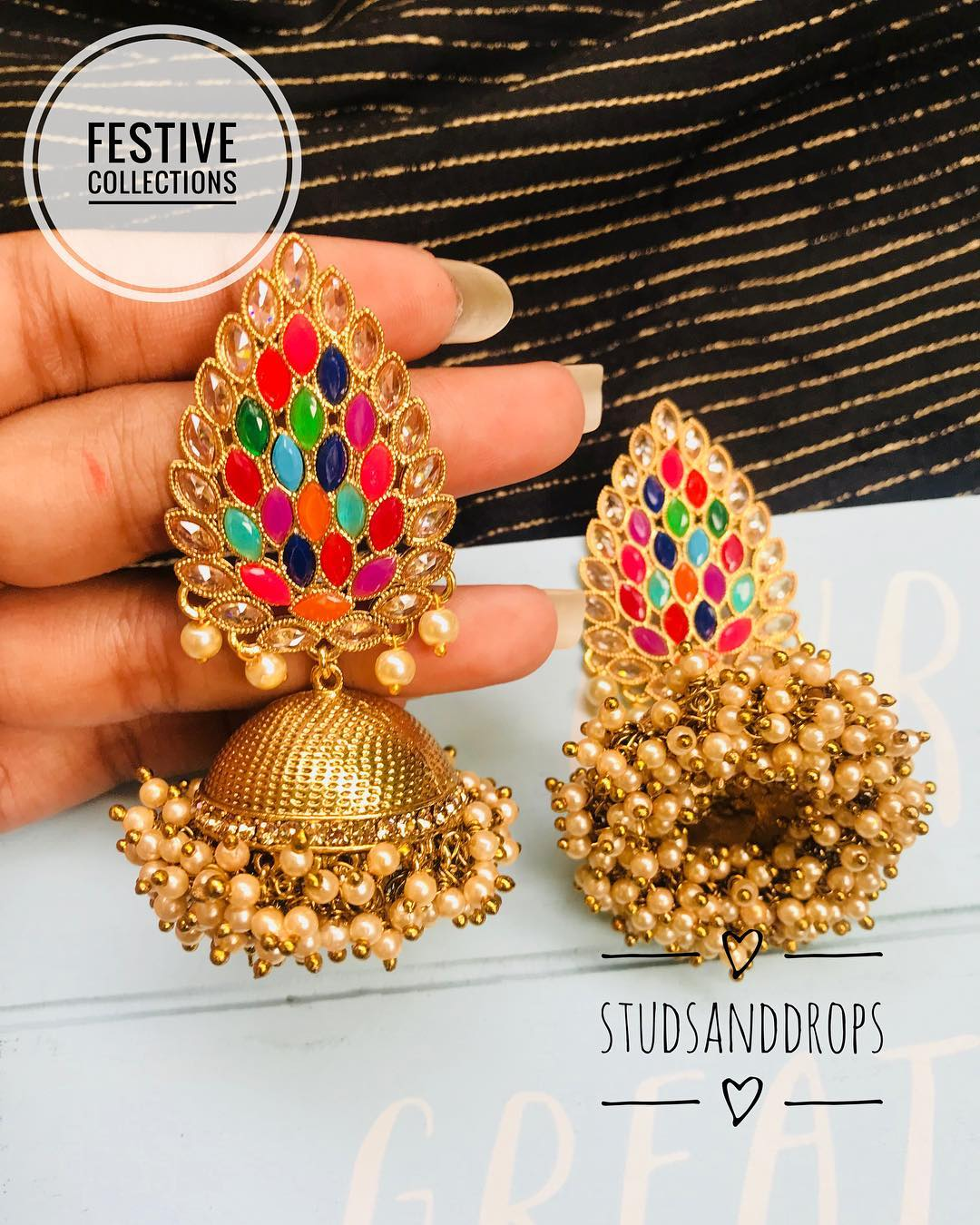 Cute Jhumka From Studs And Drops