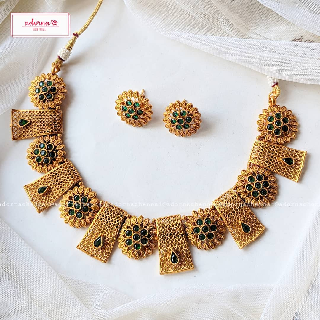 Eye Catching Necklace Set From Adorna Chennai
