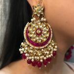 Kundan And Pearl Chand Bali With Ruby Stones From Suhana Art And Jewels