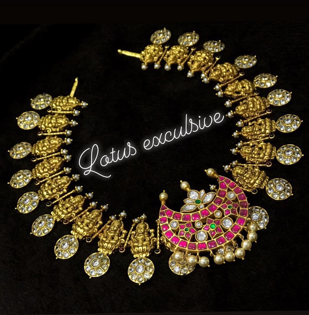Lakshmi Haram With Detachable Kundan Chandbali Pendent From Lotus Silver Jewellery