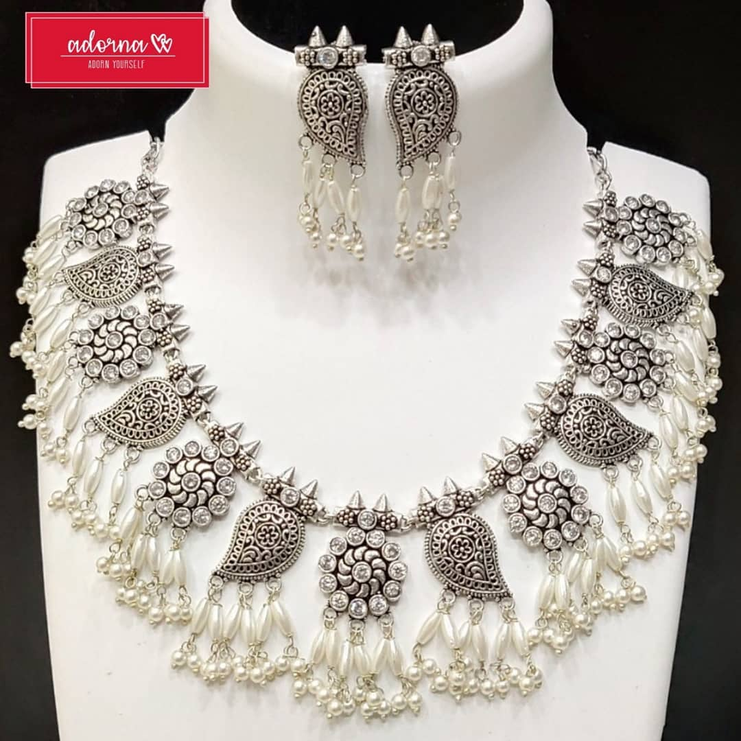 Stylish German Silver Necklace from Adorna Chennai