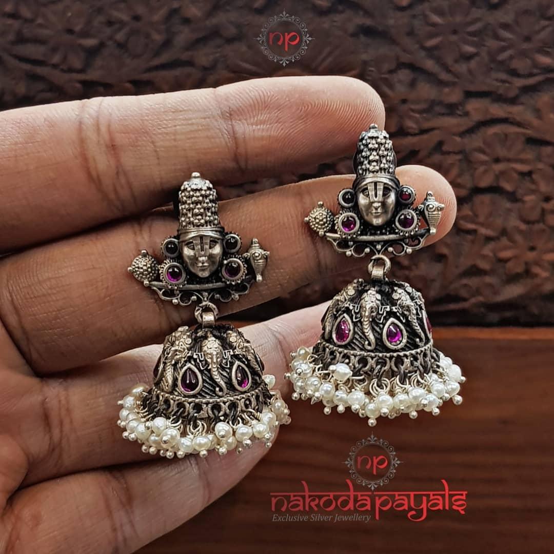 Stunning-Silver-Perumal-Jhumka From Nakodapayals
