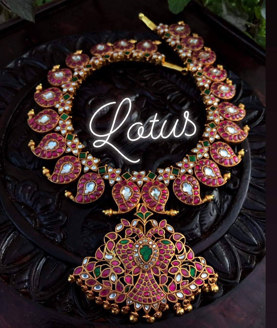 Exquisite Majestic Kundan Royal Mango Necklace From Lotus Silver Jewellery