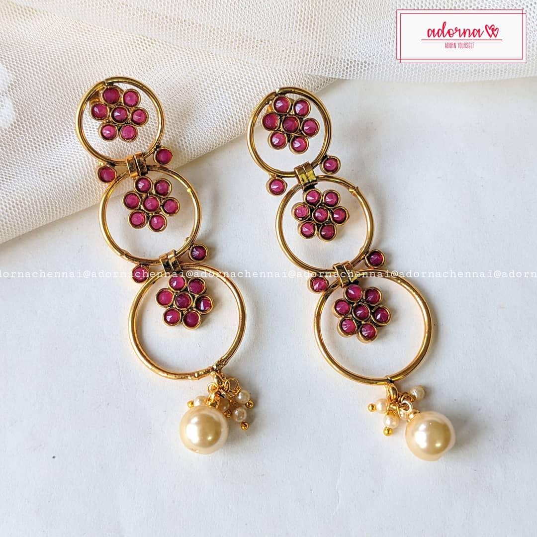 Festive lightweight earrings From Adorna Chennai