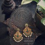 Green Mayil Earring From Abharanam
