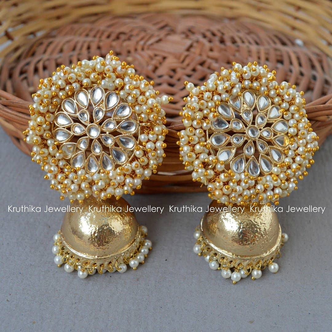 Jumbo Cluster Pearl Stone Jhumkas From Kruthika Jewellery