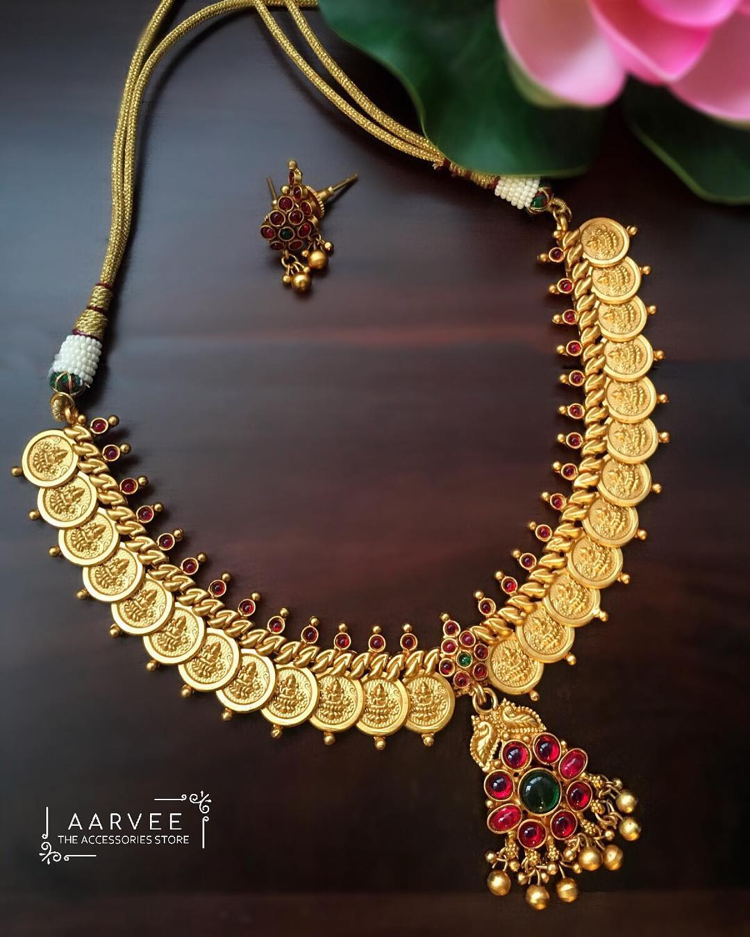 Lakshmi Coin Necklace With Kemp Pendant From Aarvee