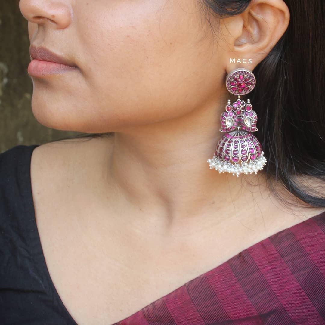 Paisley Kundan Jhumka From Macs Jewelry