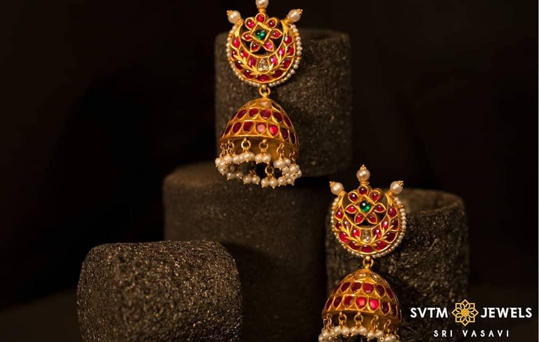 Pearl Studded Chandbali Earrings With Gold Jhumkas From Sri Vasavi Thangamaaligai