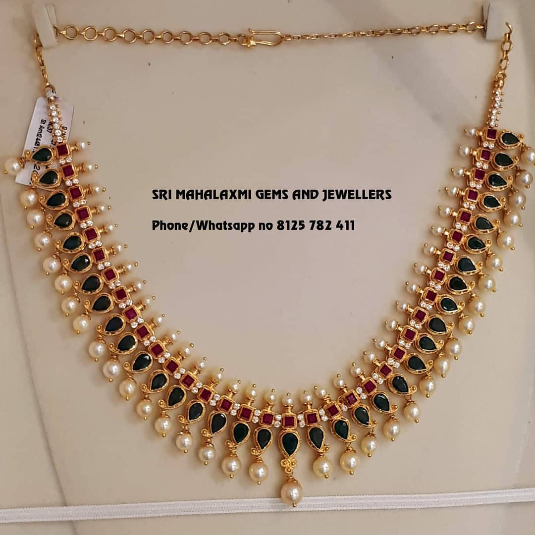 Pretty Gold Necklace From Sree Mahalakshmi Gems Jewelleries