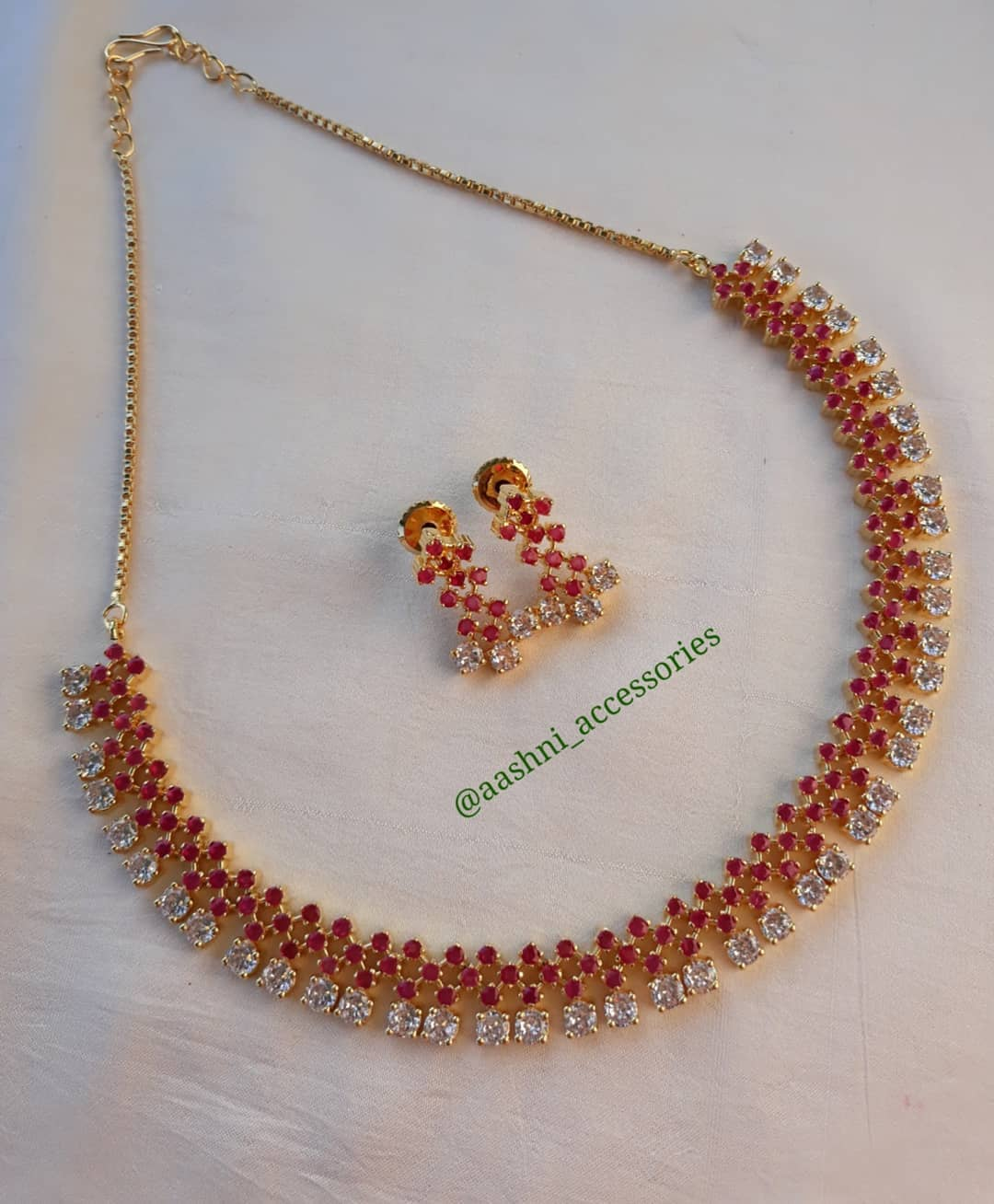 Red and White Stone Necklace with Earrings From Aashni Accessories