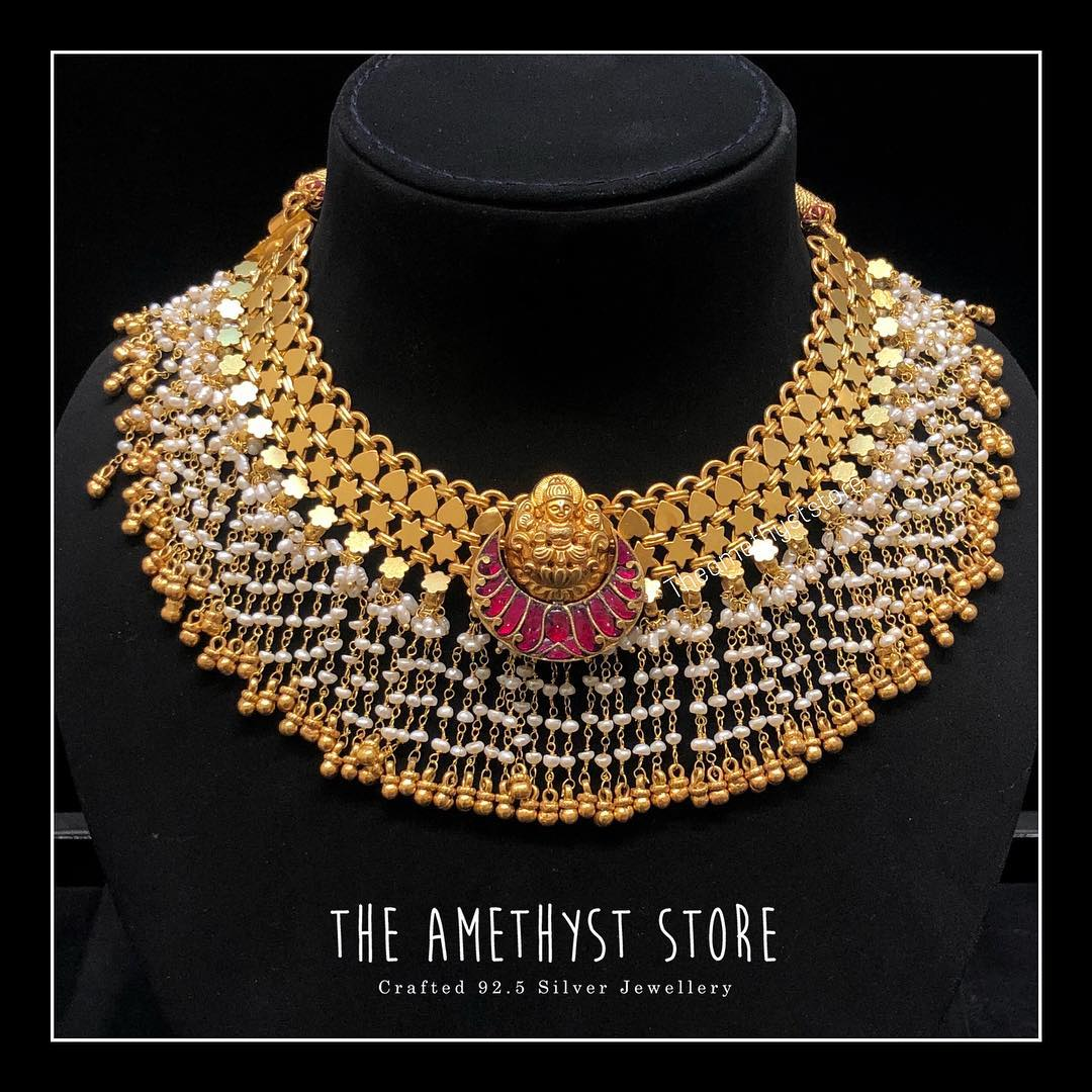 Antique Gold Plated Silver Necklace From The Amethyst Store